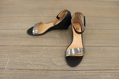 efa872777 CIAO BELLA WILSON Wedge Sandals Black Pewter Ankle Strap Sz 6.5 M ...