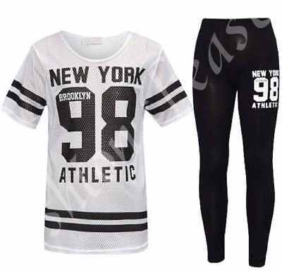 New Girls NEW YORK 98 Net Tracksuit Kids Baseball Top & Leggings Age 7-13