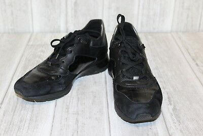 GEOX RESPIRA SHAHIRA RRP £115 BLACK LEATHER TEXTILE COMBI TRAINERS SHOES LADIES