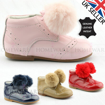 Baby Girls Spanish Style Pom Pom Shoes Genuine Leather Shiny Patent Brogue New