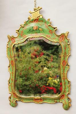 Rare 19th Century Venetian Painted and Parcel Gilt Mirror