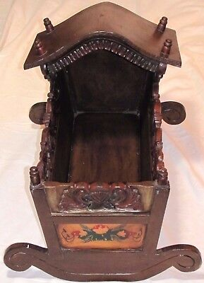Antique Wooden Primitive Hand Carved Baby Cradle Rocker Original Paint Mural Wow