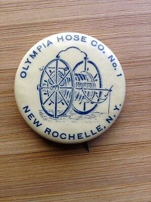 Olympia Hose Co No.1 Pinback Button-New Rochelle, NY-Vintage-Early 1900s-1920s!!