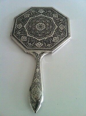 Outstanding Solid Silver Antique Persian Isfahan Islamic Hand Mirror- Hallmarked