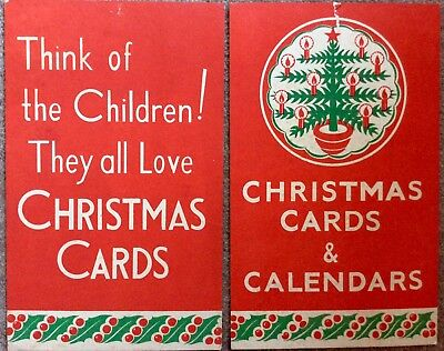 2 X Vintage Red 'Think Of Children' Christmas Card Advertising Board 1950's