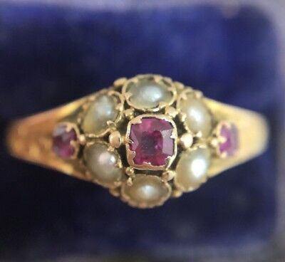 Victorian Antique Pretty Pink Tourmaline And Pearl Posy Ring Ornate Band Gold 15