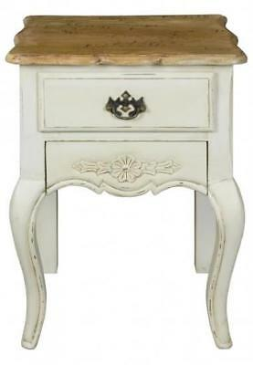 French Country Style Shabby Chic Bedside Table Bedroom Chest Cabinet 2 Drawers