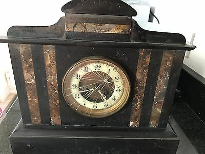 Pretty Antique French Mantel Clock Black Slate & Marble - For Restoration