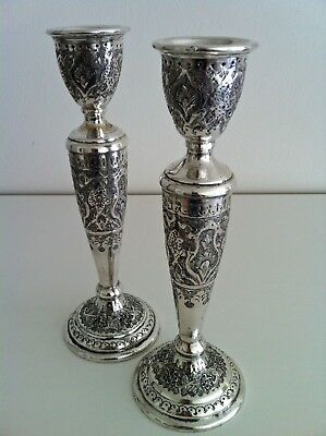 Fine Pair of Solid Silver Antique Persian Islamic candlesticks/holders- Hallmark