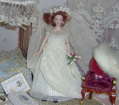 Wedding dress hand made,dress,veil and flowers--.Dollhouses Scale 1/12