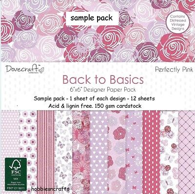 Dovecraft Back To Basics Papers - 6 X 6 Sample Pack - 12 Sheets - Perfectly Pink