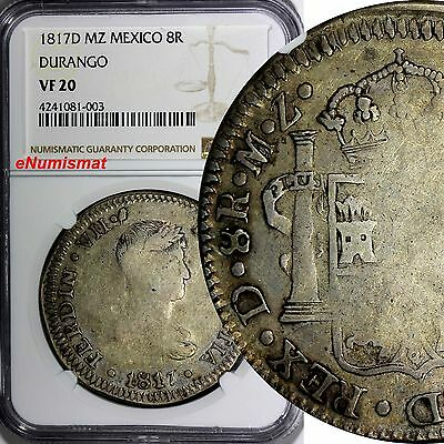 MEXICO War Of Independence Silver DURANGO 1817 D-MZ 8 Reales NGC VF20 KM# 111.2