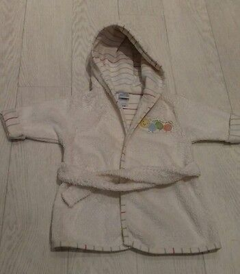 Baby Dressing Gown 0-9 Months White  Towelling