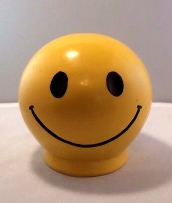 Vintage 1972 Smiley Face Vinyl/Plastic Piggy Bank Yellow & Black