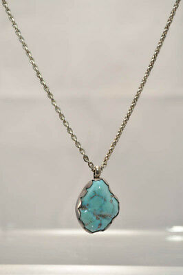 """Navajo Turquoise and Silver Pendant Necklace 18"""" c.1970"""