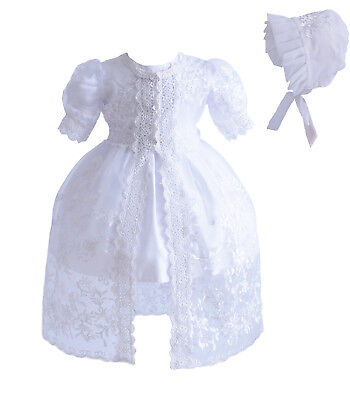 New Baby 3 Piece White Lace Christening Gown Party Dress 0 3 6 12 18 24 Months