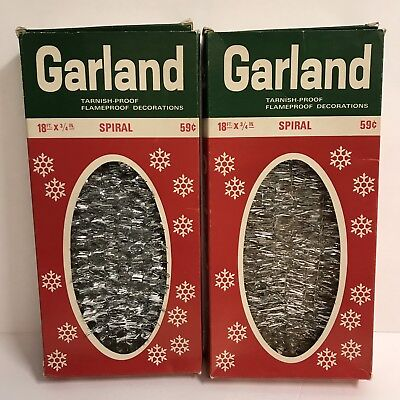 Vintage Garland Silver Metallic Spiral Christmas Holiday Decor National Tinsel