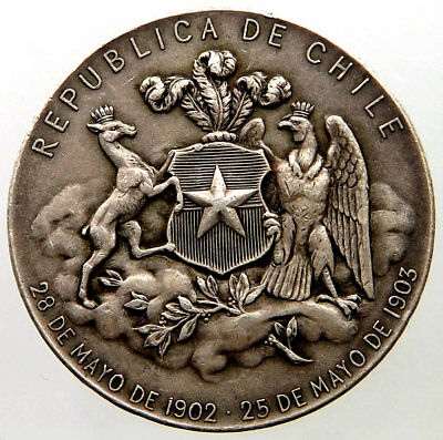 CHILE, SILVER MEDAL, YEAR 1903, NICE PATINA AND SUPERB CONDITION, 2,8 mm.