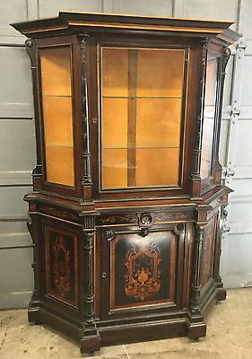 19th c. RENAISSANCE ROSEWOOD INLAID CREDENZA SHOWCASE CABINET