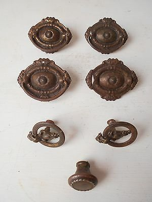 LOT of Antique EASTLAKE Ornate Brass drawer pull Hardware - Single Post Pull