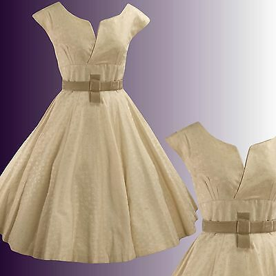 Vintage 1950s Embroidered Champagne Cotton Dress - 50s Dress