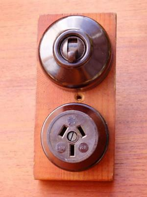 ART DECO 30s 40s VINTAGE Brown BAKELITE Power Point and SWITCH on TIMBER Backing