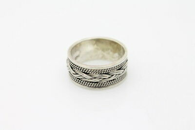 Sterling Silver Bali Ring Band w Weave Braided Rope Design Artisan Size 6.5