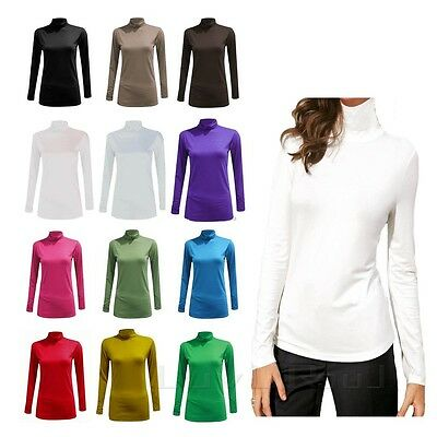 LADIES WOMENS POLO NECK TOP STRETCH LONG SLEEVE TURTLE  NECK TOP JUMPER 6-26 pol