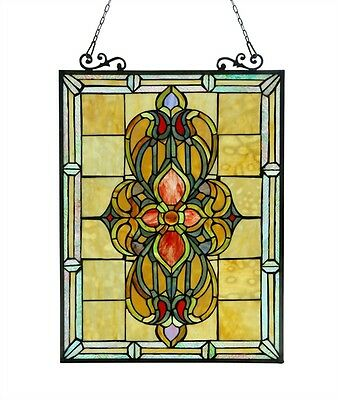 """Victorian Medallion Design Tiffany Style Stained Glass Window Panel 18"""" x 25"""""""