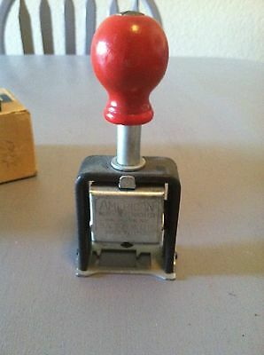 Vintage American Numbering Machine Model 111 With box and ink pad tin.