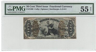 Fr#1366 50 Cent THIRD Issue Fractional Currency, PMG 55  ABOUT UNCIRCULATED (NET