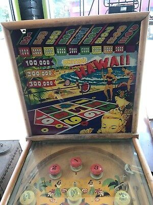 Rare Vintage 1947 United's Hawaii Fliperless Pinball Machine