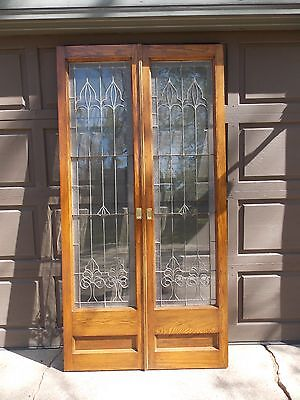 Antique Oak Doors Leaded Glass