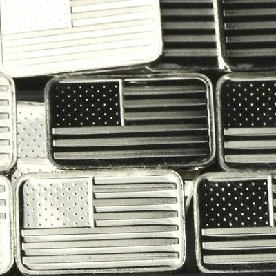 "Best Junk Lot: 1 GRAM .999 Fine Solid Silver Bullion Art-Bar: '"" AMERICAN FLAG """