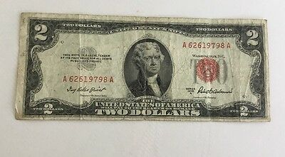 1953A $2 Dollar Bill Us Red Seal Note Circulated Legal Paper Tender Money