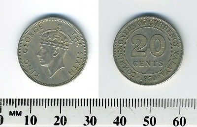 Malaya 1950 - 20 Cents Copper-Nickel Coin - King George VI