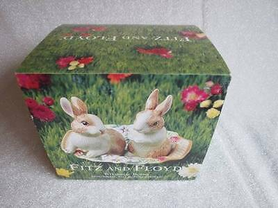 Fitz and Floyd Bunny Rabbit Salt and Pepper Shakers on Tray - New in Box