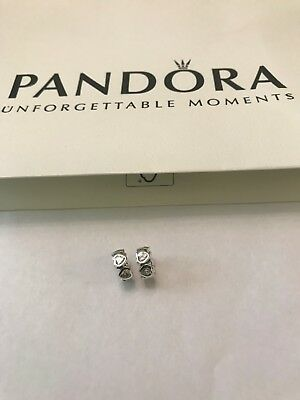 Authentic Pandora Clear Sparkling Heart Spacer X 2 - No 791252CZ