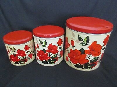 Vintage Willow Kitchen Canisters , Rose Pattern Cnisters ,willow Tins C-1950