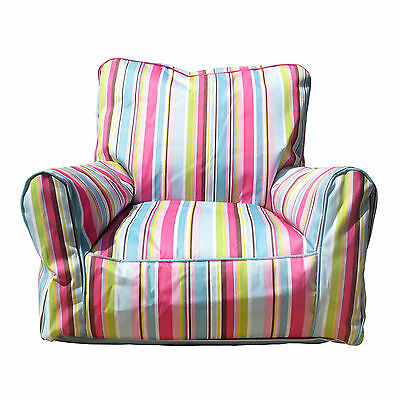 Childrens Bean Bag Sofa Blue & Pink Stripe PVC Kids Furniture Kids Chair