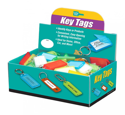 Lucky Line Key Tag with Flap & Split Ring,100 Per Box; Assorted Colors (60500)