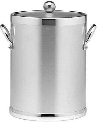 Ice Bucket and Lid, Kraftware Americano 5 Qt. Brushed Chrome, Metal Side Handles