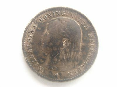 Antique Netherlands 10cent coin 1897 Queen Wilhelmina