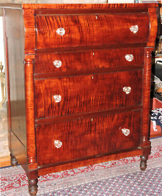 chest, four drawers, tiger maple, great figure, Sheraton, 38w,49t, c1830