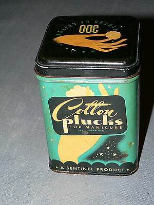 Vtg Cotton Plucks tin, Sentinal Products, Forest City Rubber Co Cleveland USA