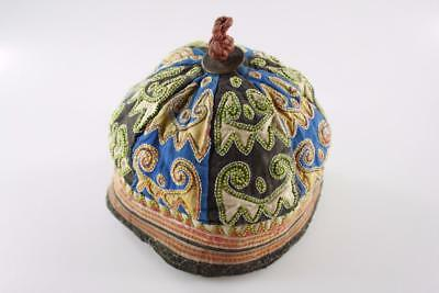 Early 20th Century CHINESE TRIBAL HAND EMBROIDERED CHILD CAP HAT