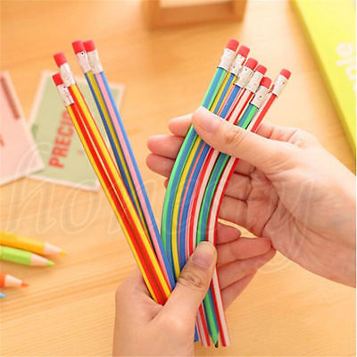 3-50Pcs Colors Funny Bendy Flexible Soft Pencils With Eraser For Kids Study Gift