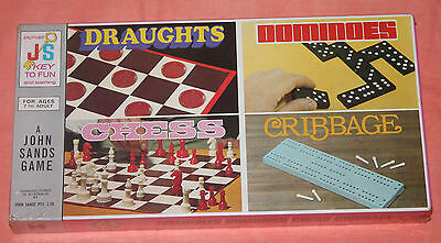 Vintage Board Game - Draughts/dominoes/chess/cribbage - 4 Games In One - New
