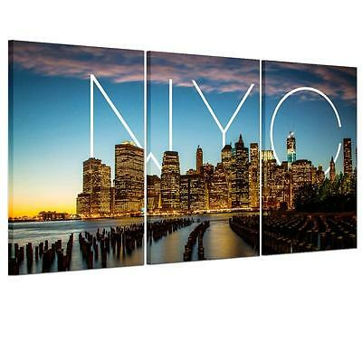 Large NYC Night View Unframed HD Canvas Print Wall Art Picture Split Poster Gift