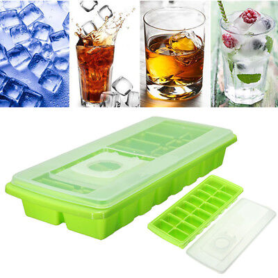 16 Cavity Ice Cube Tray Box With Lid Cover Drink Jelly Freezer Mold Mould Makers